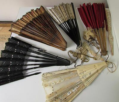 Antique Hand Fan Eventail Set Of 5 For Repair Parts Mop Wood Bone