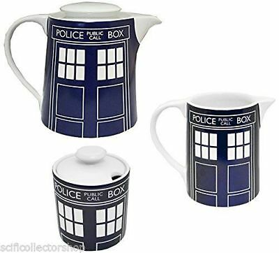 BBC Doctor Who Tardis Teapot, Sugar Bowl & Milk Creamer Jug Combo Set