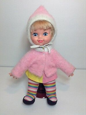 """Rare Vintage 1970 12"""" Lil Polly Puff With Jacket Hood Remco Doll Plush Blonde"""