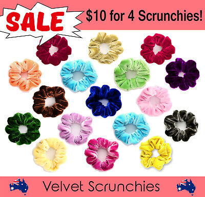 4x Superior Quality Velvet Hair Ring Ties Scrunchies Ponytail Holder Rubber Band