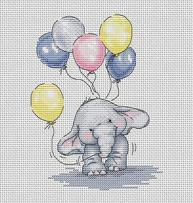 Baby Elephant with Balloons - Cross Stitch Chart - FREE POST
