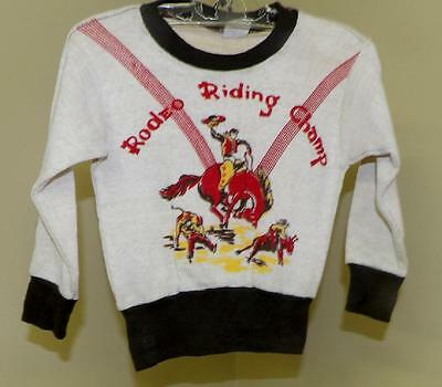 ORIG VTG 40s 50s BOYS TODDLER COWBOY WESTERN COWBOY RODEO PULLOVER SHIRT NEW 3 4