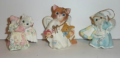 Calico Kittens Enesco LOT OF 3 Christmas Angel Ornaments Cat Figurines