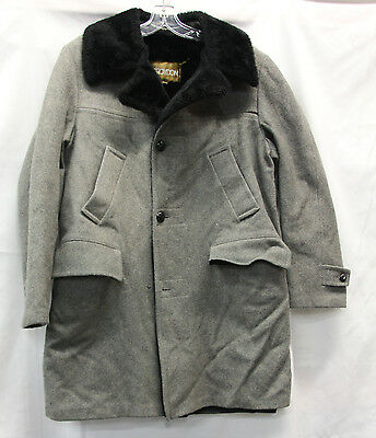 Croydon Mens Coat Jacket Size 40 Vintage Used Condition 80% Wool Missing Button