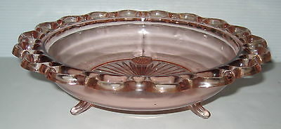 "*BEAUTIFUL*Anchor Hocking LACE EDGE/OLD COLONY PINK 10 1/2"" 3 LEGGED BOWL*MINT*"