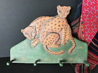 Old Balinese Carved Wooden Leopard Coat Rack …beautiful accent piece