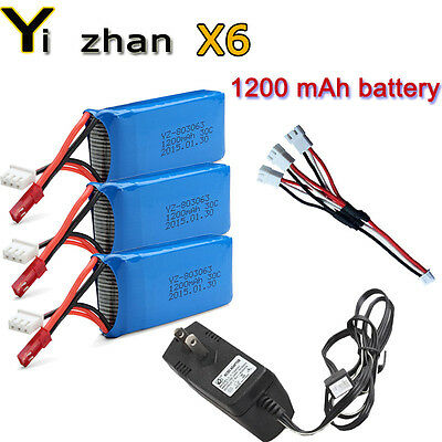 3x7.4V 1200mAh Battery+AC Charger+3in1Cable For JJRC H16 YiZhan X6 RC Quadcopter