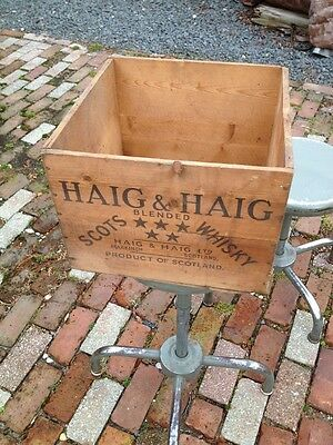 Vintage Haig & Haig Scots Whiskey Wooden Crate Box W/ Advertising
