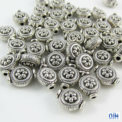 50pcs Antique Silver Flower Disc Spacer Beads Tibetan Style 10x8x5mm Hole 1mm