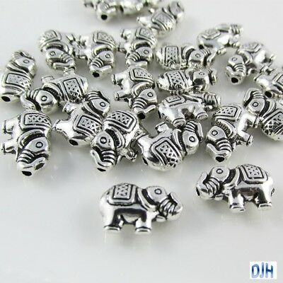 20pcs Antique Silver Elephant Spacer Beads Tibetan Style 12x8x3mm Hole 1mm