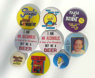 Vintage 1960-70's Novelty Humorous Pinback Badges Funny Alcohol Jokes Beer, etc.