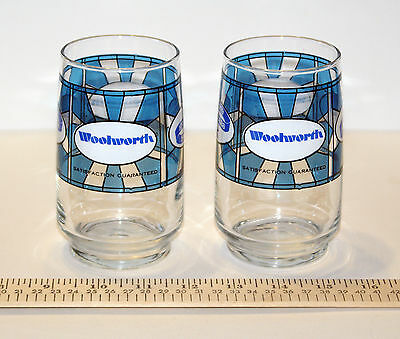 Two Retro 1979 Woolworth 100th Anniversary Stained Glass Style Tumbler Glasses