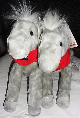 Set of Two Shamrock 2013 Legendary Pony Plush Gray White Wells Fargo Collectable
