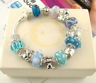 New wholesale fashion jewelry solid SILVER charm Bracelet/bangle+Gift Box925