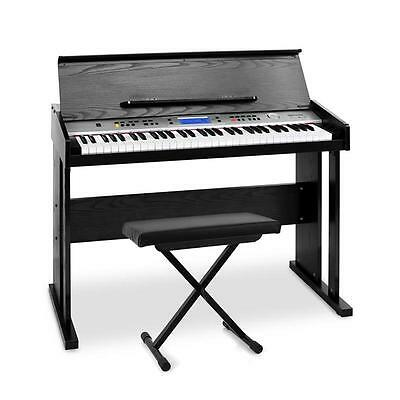 Complete Midi Electric Keyboard Set With Wooden Housing And Stool Effects Lcd