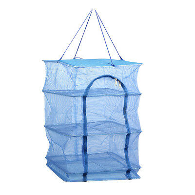 4 Layers Folding Dry Rack Hanging Food Fish Dishes Mesh Drying Net Blue