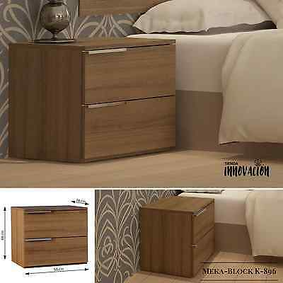 Mesilla de Noche con 2 Cajones Nogal Nature 2 Drawers Bedside Home Furniture