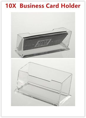 10 X Clear Desktop Business Card Holder Display Stand Plastic Desk Shelf  LOT DF