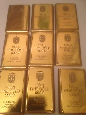 20 Belgian Chocolate Gold Bars / wedding/novelty/retro Sweets