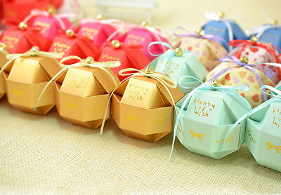 100pc Wedding Birthday Favor Party Sweets Box Candy Gift Boxes with Ribbon +Bell