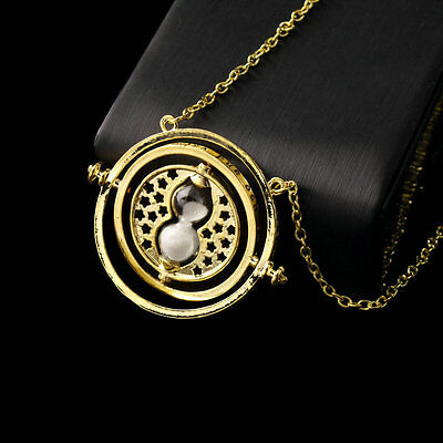 Harry Potter Hermione Granger Rotating Time Turner Necklace Gold Hourglass DF