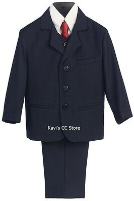 Boys NAVY BLUE Formal Suit 5 Piece Ring Bearer Baby Toddler Husky Size 6M-20H