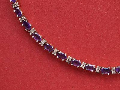 9ct Yellow Gold Amethyst 0.50ct Diamond Tennis Bracelet
