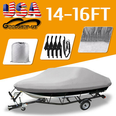 "14-16 Ft 600D Fabric Heavy Duty Waterproof Trailable Boat Cover V-Hull 90"" Beam"