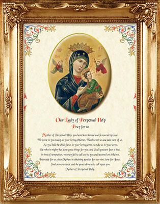 Our Lady Of Perpetual Help Plus Prayer Gold Framed Picture Catholic Religious