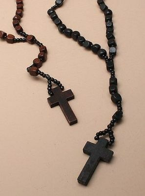 Wooden Rosary Bead Necklace With Wooden Crucifix Cross - Black or Brown
