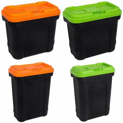 Pet Food Container With Scoop Black & Orange/Green Small Large Storage Bin
