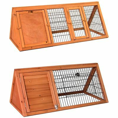 Pet Hutch Small Large Brown Wooden Triangle Rabbit Animal Garden Run House