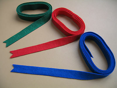"""Piano Nameboard Felt - Green, Red or Blue - 52"""" long (132cm) x 5/8"""" wide (15mm)"""