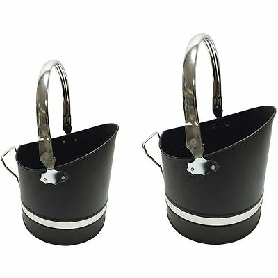 Coal Bucket Chrome & Black Small Large Ash Fireplace Scuttle Storage Accessory