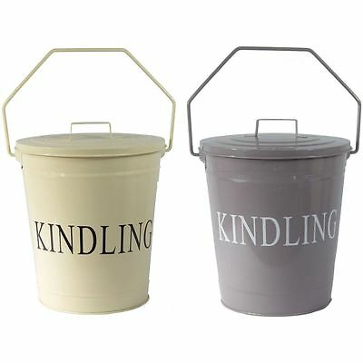 Kindling Bucket With Lid Grey Cream Fireplace Log Wood Metal Storage Accessory