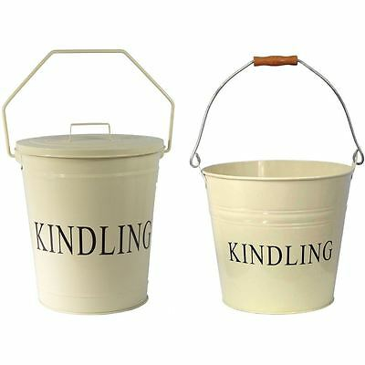 Kindling Bucket Cream Fireplace Log Wood Metal Storage Carrier Accessory