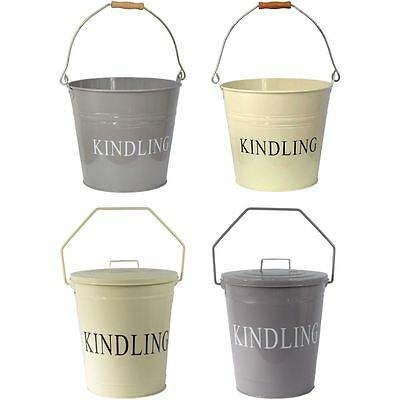 Kindling Bucket Grey Cream With Lid Fireplace Coal Wood Metal Scuttle Storage