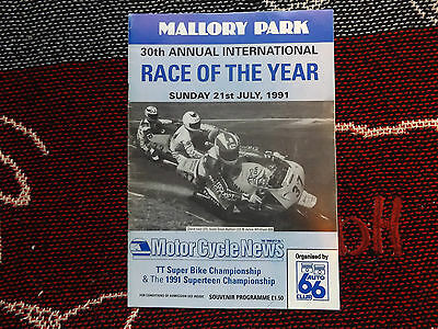 1991 Mallory Park Motorcycle Programme 21/7/91 - Race Of The Year