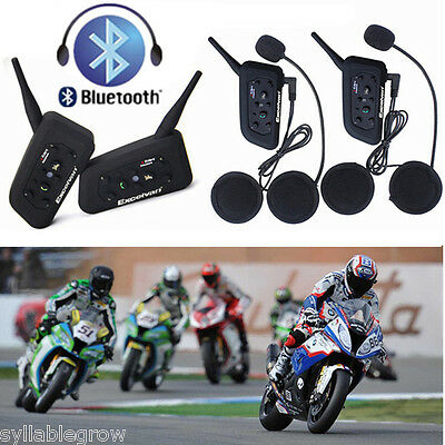 1200M BT Intercomunicador Bluetooth Casco Auriculares Moto 6 Rider Interphone FM