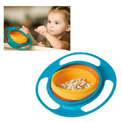 UK 360 Rotate Baby Kids Feeding Toy Bowl Dishes Spill-Proof Funny Gyro Toy