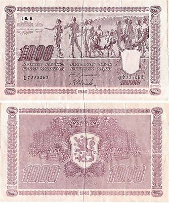 FINLAND 1000 Markkaa (1945 - Naked Village People) Pick 82a, VF+  *XRARE*