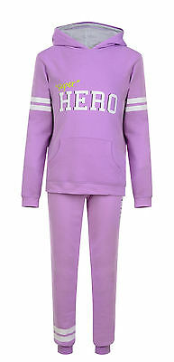 Kids Girls Tracksuit Jog Set Hooded Top & Joggers Purple Ex Store 8-13 Years New