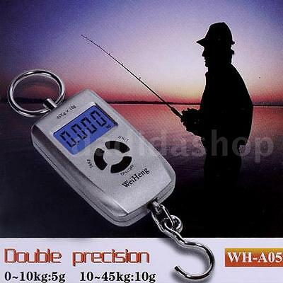45Kg Digital Hanging Luggage Balance Weight Fishing Scale with Hook Silver L7X6
