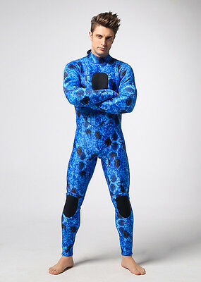 Neoprene jumpsuit blue camo 3mm zipper back Diving and spearfishing wetsuit