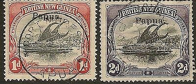"PAPUA VARIETIES 1907 LAKATOAI SG39 DROPPED ""PUA"", SG40 INVERTED ""d"" FOR ""P"" VFU"