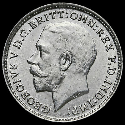 1918 George V Silver Threepence –  A/UNC