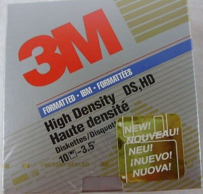 1 -   3M Formatted Ibm High Density Ds,hd 3.5 Diskettes Pack Of 10