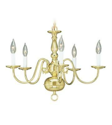 Chandeliers 5 Light With Polished Brass Finish 24in 300 Watt - World of Crsytal