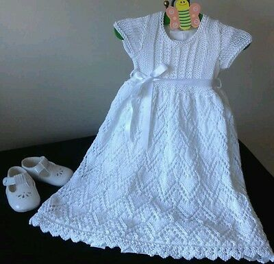 New Hand Knitted Christening Gown 0-6 months