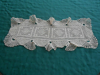 Unique Small Hand Crochet Lace Runner With A Fluted Border,  Circa1930